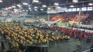 "850 Students performing the flexi-score ""Celtic Butterfly"" in Halifax, organized by string director Sue Ellen Wilder"